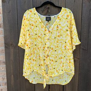 Anthropologie W5 Floral Yellow Button Up Blouse XL